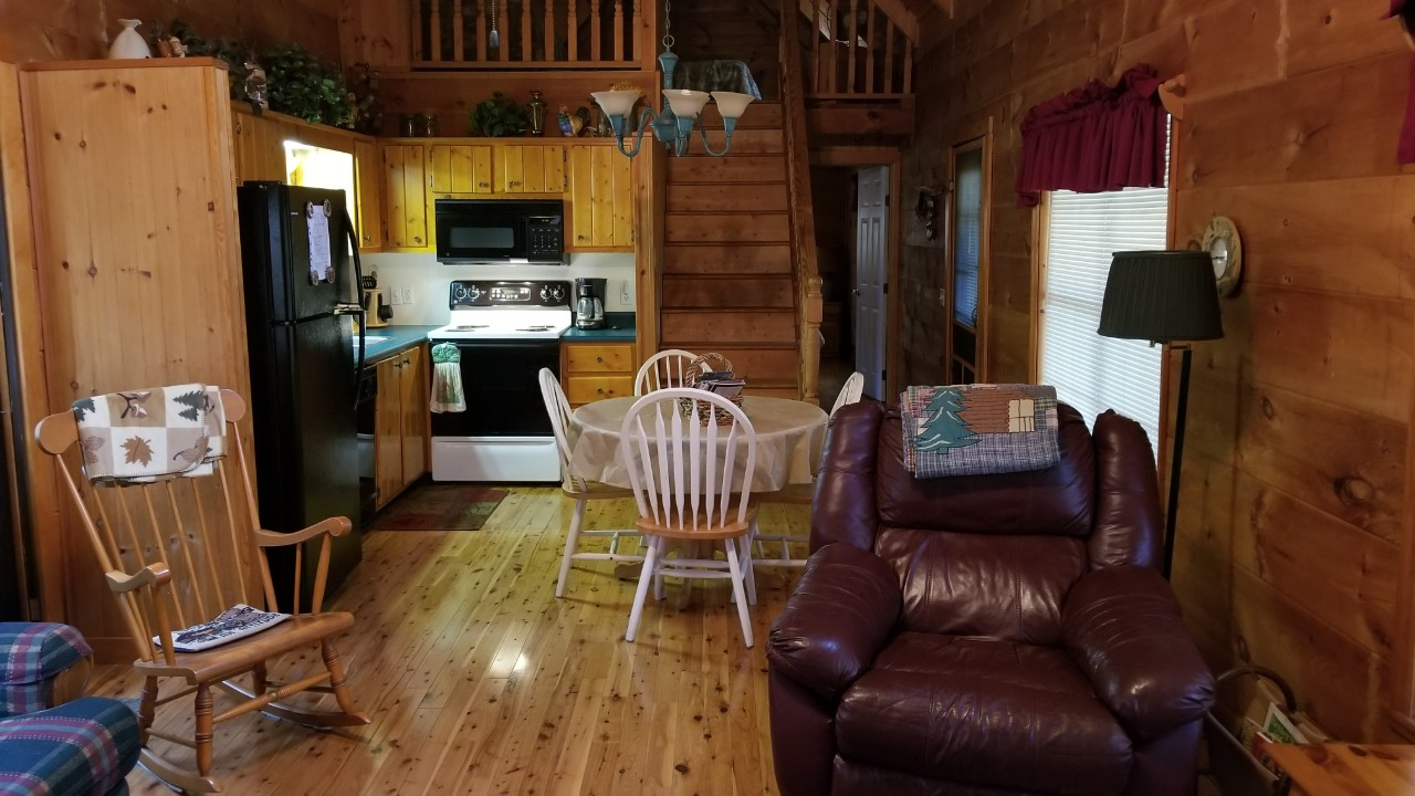 Beautiful living room, log cabin vaction rental in Cedar Mountain near Hendersonville, Brevard and Dupont State Forest NC